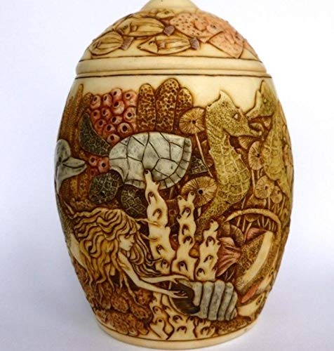 Mysteries of the Deep Mermaid, Dolphins Lidded Jardinia Cachepot Vase Urn