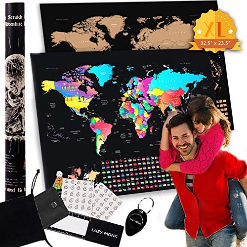 Lazy Monk Scratch Off Map of the World | Travel Poster Destination Tracker Scratching Maps | Large Black & Gold Deluxe Adventure Map with Complete Accessories Set & All Country Flags