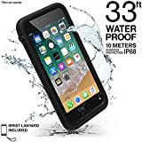 Catalyst iPhone 8 Plus Waterproof Case (Compatible with The Apple iPhone 7 Plus), Shock Proof, Drop Proof, Slim, Stylish for Apple iPhone 8+ (Works with iPhone 7+) with Wrist Strap Lanyard (Black)