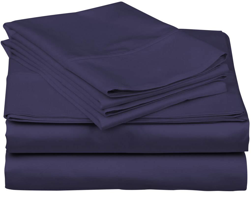 Plum California King True Luxury 1000-Thread-Count 100% Egyptian Cotton Bed Sheets, 5-Pc Split King White Sheet Set, Single Ply Long-Staple Yarns, Sateen Weave, Fits Mattress Upto 18'' Deep Pocket