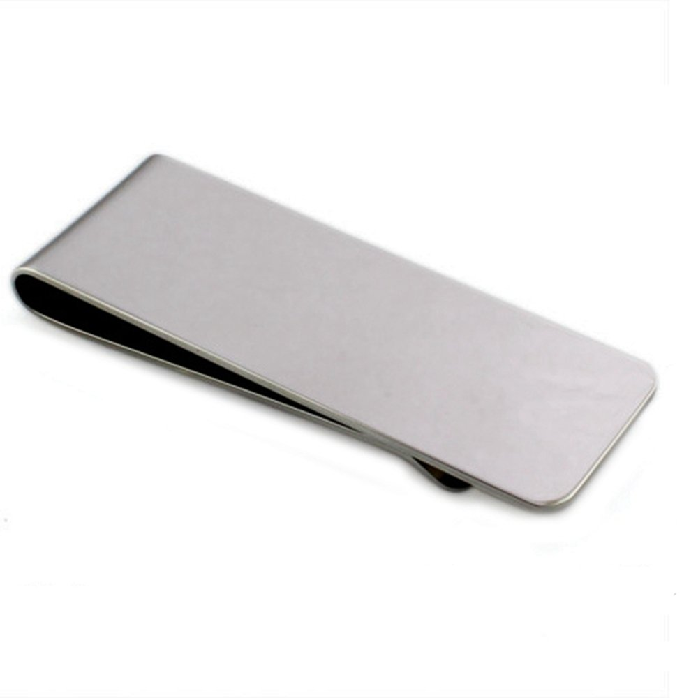 HOUSWEETY Stainless Steel Glossy Slim Money Clip Wallet Crediat Card Holder 7.5x2.1cm