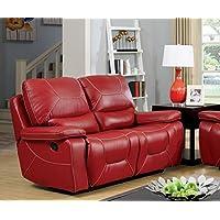 Furniture of America Dunham 2-Recliner Love Seat, Red