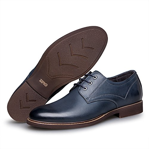 ZRO Men's Premium Genuine Leather Casual Lace-up Shoes Blue US 7