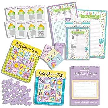 Baby Shower Games Bingo, Advice Cards, Scratch Off, Word Scramble, Word Find Five Game Bundle