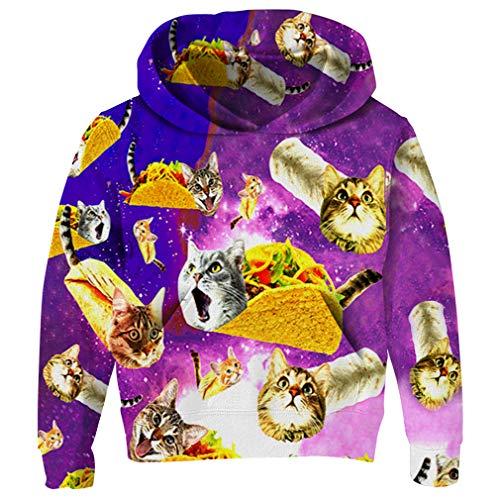 RAISEVERN Little Boy's Hoodie Personalized Pizza Cat Design Hoodies Funky Novelty Sweatshirt Hipster Pullover Hoody -