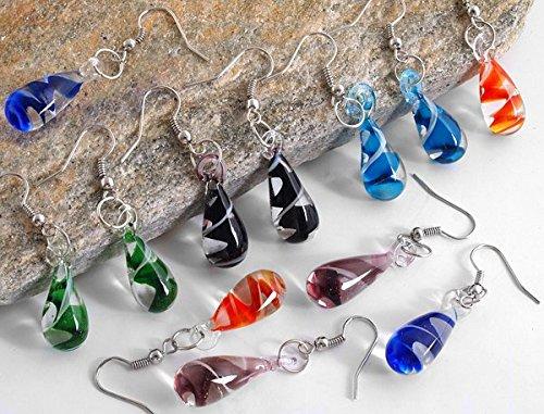 Ecloud Shop 6 Pairs Beautiful Murano Lampwork fashion Glass Dangle Earrings 19x10mm ()