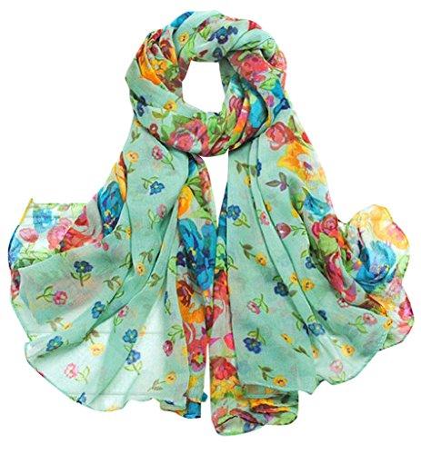 Aven Women Classy Cotton Voile Print Colorful Flowers Long Scarf Shawl Wrap Color (Cotton Voile Wrap)