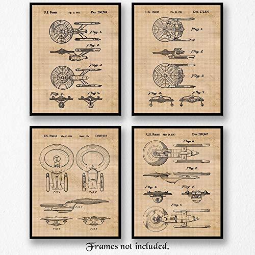 (Original Star Trek Patent Art Poster Prints - Set of 4 (Four Photos) 8x10 Unframed - Great Wall Art Decor Gifts Under $20 for Home, Office, Garage, Man Cave, Student, Teacher, Trekkies, Movies Fan)