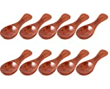 Antrader 10Pcs Wooden Small Spoons Condiment Sugar Tea Leaf Milk Powder Scale Teaspoons Measuring Scoop Seasoning Salt Spoon Mini