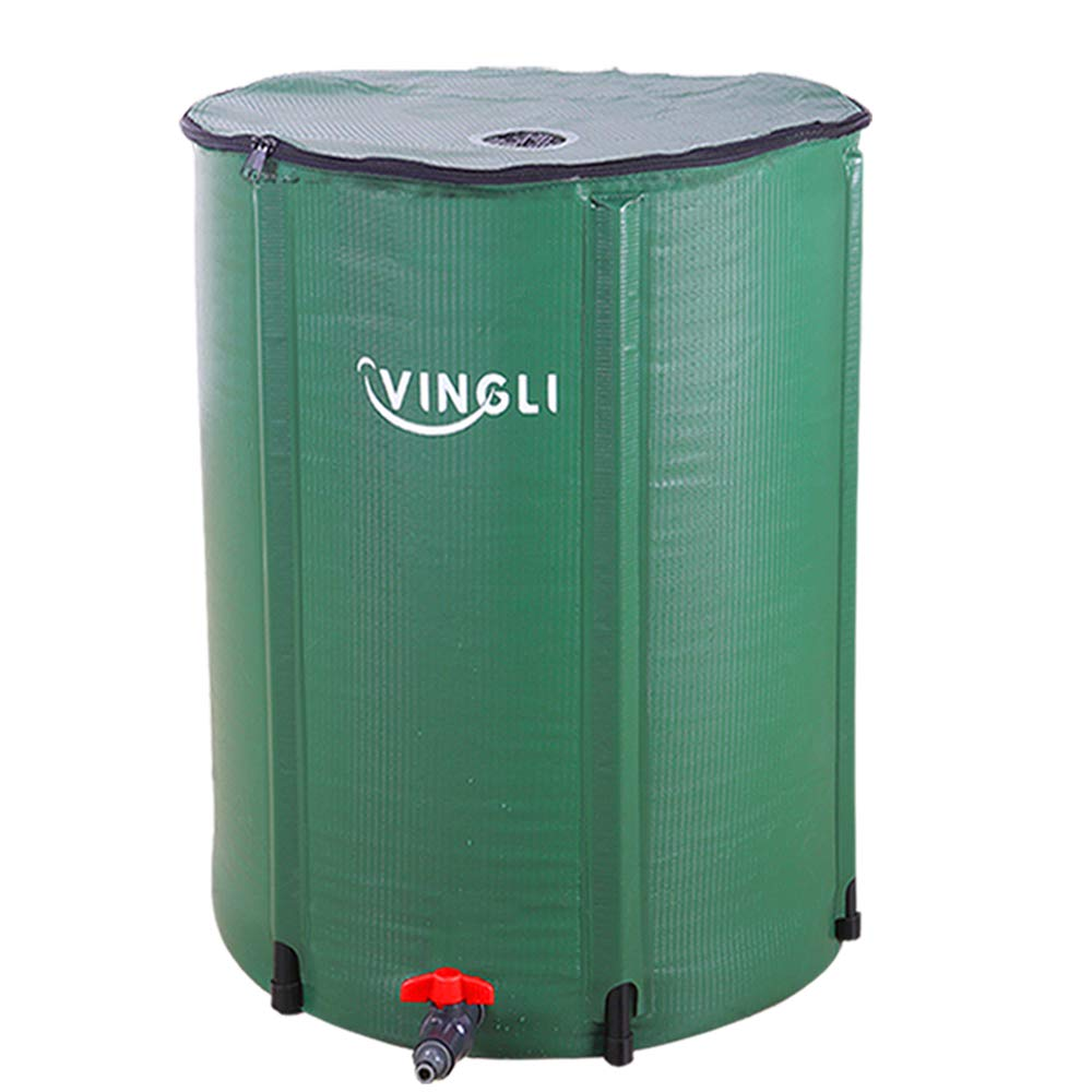 VINGLI 66 Gallon Collapsible Rain Barrel, Portable Water Storage Tank, Rainwater Collection System Downspout, Water Catcher Container with Filter Spigot Overflow Kit by VINGLI