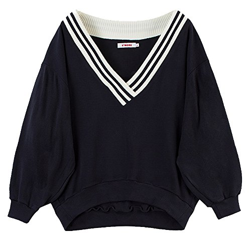 S MORE Classic Cricket V-Neck Oversized Fit Sweatshirt For Men and Women One Size Navy by S MORE