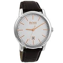 Hugo Boss Men's 40mm Brown Leather Band Steel Case Quartz White Dial Analog Watch 1513399