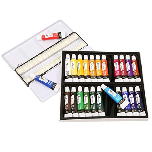 MEEDEN Watercolor Paint Set Kit, Empty Watercolor Tins Palette with 24 Pcs Half Pans and Watercolor Paint Tubes of 24 Vibrant Colors for Students Beginners and Professional Artists