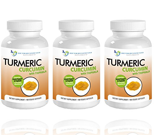 Turmeric Curcumin-2250mg/d-180 Veggie Caps-95% Curcuminoids with Black Pepper Extract (Piperine) - 750mg capsules - 100% ORGANIC Turmeric - Most powerful Turmeric Supplement - with Triphala -(3 Pack) by Doctor Recommended
