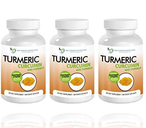 Turmeric Curcumin-2250mg/d-180 Veggie Caps-95% Curcuminoids with Black Pepper Extract (Piperine) - 750mg capsules - 100% ORGANIC Turmeric - Most powerful Turmeric Supplement - with Triphala -(3 Pack)