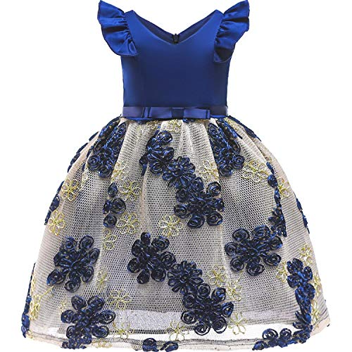 Girls Dress Backless Floral Flare Sleeve Bow Kids