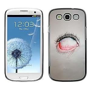 FECELL CITY // Duro Aluminio Pegatina PC Caso decorativo Funda Carcasa de Protección para Samsung Galaxy S3 I9300 // Creepy Eye Painting Emo Sad Goth