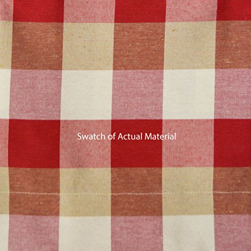 Three Piece Kitchen/Cafe Tier Window Curtain Set: Large Gingham Check Pattern, Cotton Blend Fabric (Red)