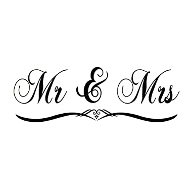 DNVEN (Black Medium 47 x 16  Mr and Mrs Husband and Wife Bedroom Wall Decal Stickers Art Decor Home Vinyl Lettering Romantic Wedding Anniversary Wall Decals