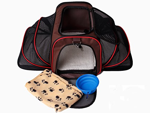 Cab High Shell Cover (Expandable Pet Cat Carrier for Small Dogs and Cats - Soft Sided Crate - Airline Approved Medium Kennel Travel Bag - Fits Under or on Top of Seat - 2.8 lbs Dog Carriers with Bonus Blanket & Bowl)