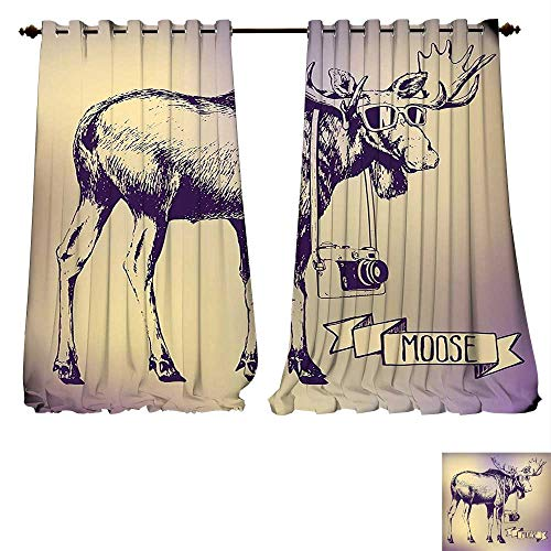 fengruiyanjing-Home Blackout Living Room/Bedroom Window Curtains Moose Hipster Deer Shades Sunglasses Camera Vintage Ombre Design Funny Art Purple Beige Blackout 2 Panels (W120 x L84 -Inch 2 Panels) ()