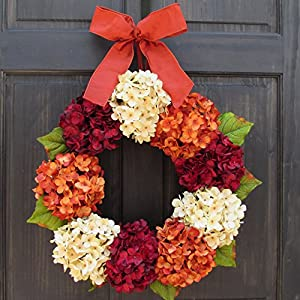 Burgundy Red, Cream and Orange Rust Hydrangea Wreath for Summer Thanksgiving Fall Front Door Decor