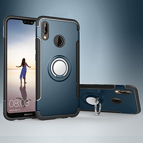 Price comparison product image Zhusha Phone case,  Armor Dual Layer 2 in 1 Protection Case with 360 Degree Rotating Finger Ring Holder and Magnet Car Holder Case for Huawei P20 Lite / Nova 3E (Color : Navy)
