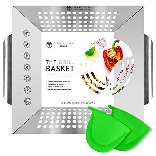Heavy-Duty Grill Basket FUMO- Makes Grilling Vegetables and Small Food Easy and Effortless - Suitable for All Grills and BBQ - Easy to Clean - FDA Approved - Silicone Mitts Included