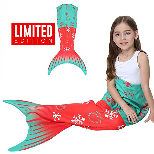 Sea Inspired Halloween Costumes (Kids Mermaid Tail Blanket Gilrs Fleece Sleep Bags,Halloween Mermaid Princess Costume Dress,Kids' Bedding Toys Comforter Quilts for Sofa,Home,Indoor,Travel,Camping Birthday Christmas Gifts (1Xmas-Tree))