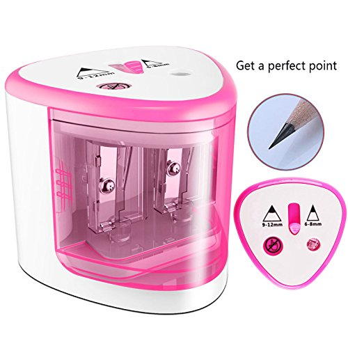 CARPRO Battery Operated Pencil Sharpener Automatic Double Holes Pencil Sharpener Colored Small and Durable Fits Home Office School Classroom-pink