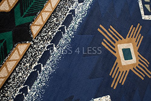 Rugs 4 Less Collection Southwest Native American Indian Area Rug Navajo Design R4L 318 in Navy Blue (5'x7')