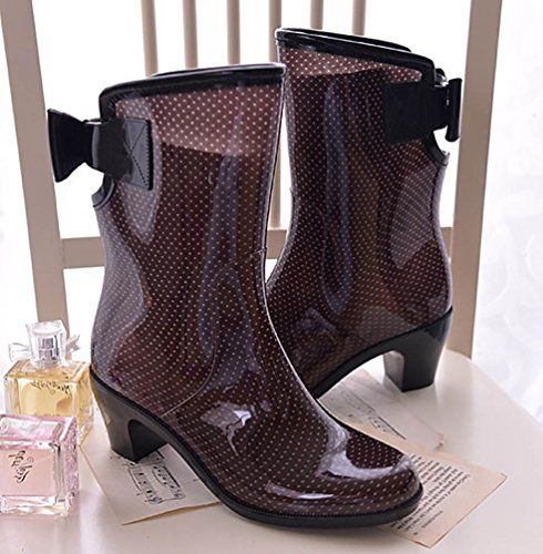 Women's Rain Shoes Wellies Rubber Smooth Footwear Boots Wellington LvRao Brown Garden Waterproof 75qBd5v