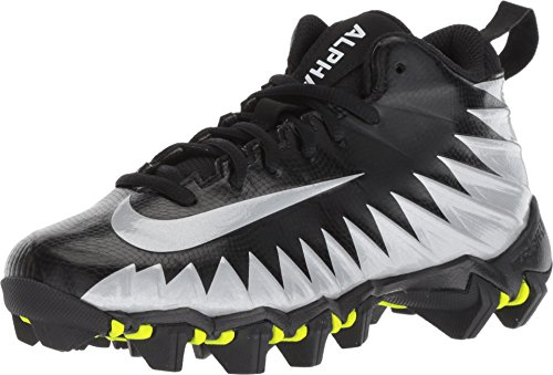 Nike Boy's Alpha Menace Shark (GS) Football Cleat Black/Metallic Silver/White, 4 Big Kid (Cam Newton American Flag Cleats For Sale)
