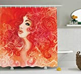 Fashion House Decor Shower Curtain by Ambesonne, Woman Face with Floral Ornamentals in Hair Glamour Watercolor Modern Art, Fabric Bathroom Decor Set with Hooks, 70 Inches, Red White offers