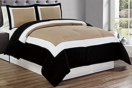 Delightful 3 Piece TAUPE / BLACK / WHITE Color Block Duvet Cover Set, KING Size