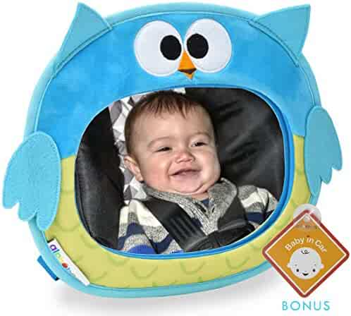 Alphabetz Owl Baby Backseat Car Mirror Crash Tested-Shatterproof Free Baby-On-Board Sign, Blue, One Size