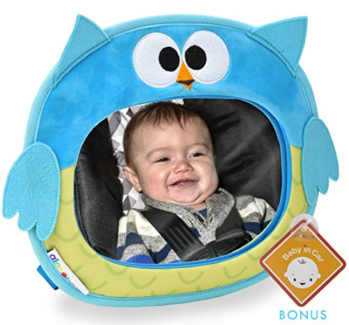 Alphabetz Owl Baby Backseat Car Mirror Crash Tested-Shatterproof Free Baby-On-Board Sign, Blue, One Size