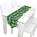 Yochoice Table Runner Home Decor, Vintage Hawaiian Blossom Flowers and Leaves Table Cloth Runner Coffee Mat for Wedding Party Banquet Decoration 13 x 90 inches