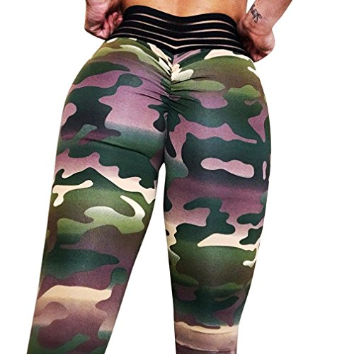 DEESEE(TM) Women's Workout Leggings Fitness Sports Gym Running Yoga Athletic Pants (Green, XL)
