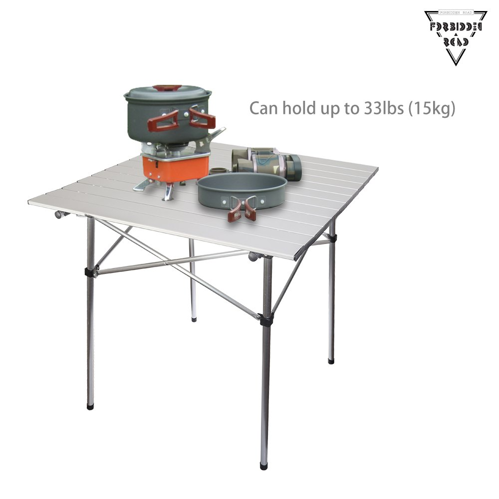 Forbidden Road Aluminum Folding Camping Table Lightweight Portable Picnic Table with Carry Bag Stable Durable Easy Set up for Patio Garden BBQ Beach Fishing Outdoor & Indoor - Silver by Forbidden Road (Image #4)