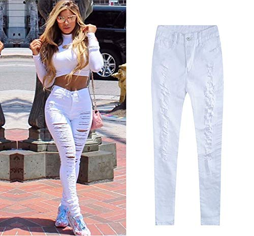 ... Pantalons Femme Skinny Longue Slim Us En Trou Destroy Aspect Noir Jean  Blanc Sexy Denim rnrZYXx ... dec07f3640d0
