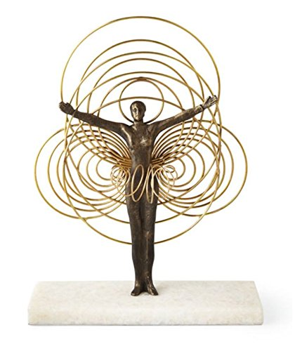 Gold Art Deco Sun Dancer Ballet Sculpture | Iron Woman Entwined Circles ()