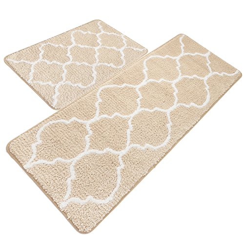 UArtlines Kitchen Mat, Decorative Non-Slip Microfiber Doormat Bathroom Mats Shower Rugs for Living Room Floor Mats (17.7x25.6+17.7x47.2, Cream)