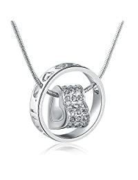 """MARENJA-Valentine Gifts Women's Fashion Necklace-Heart&Ring Pendant Engraved """"I Love You Mom""""-White Gold Plated Crystal Jewelry Gifts for Mom"""