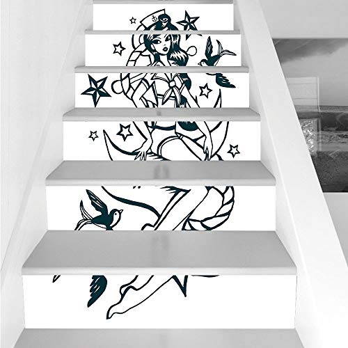 Sailor Suit Bubble - Stair Stickers Wall Stickers,6 PCS Self-adhesive,Anchor,Pin up Girl Nautical Sailor Suit Surrounded by Swallow Birds Stars Hand Drawn Decorative,Dark Blue White,Stair Riser Decal for Living Room, Hall