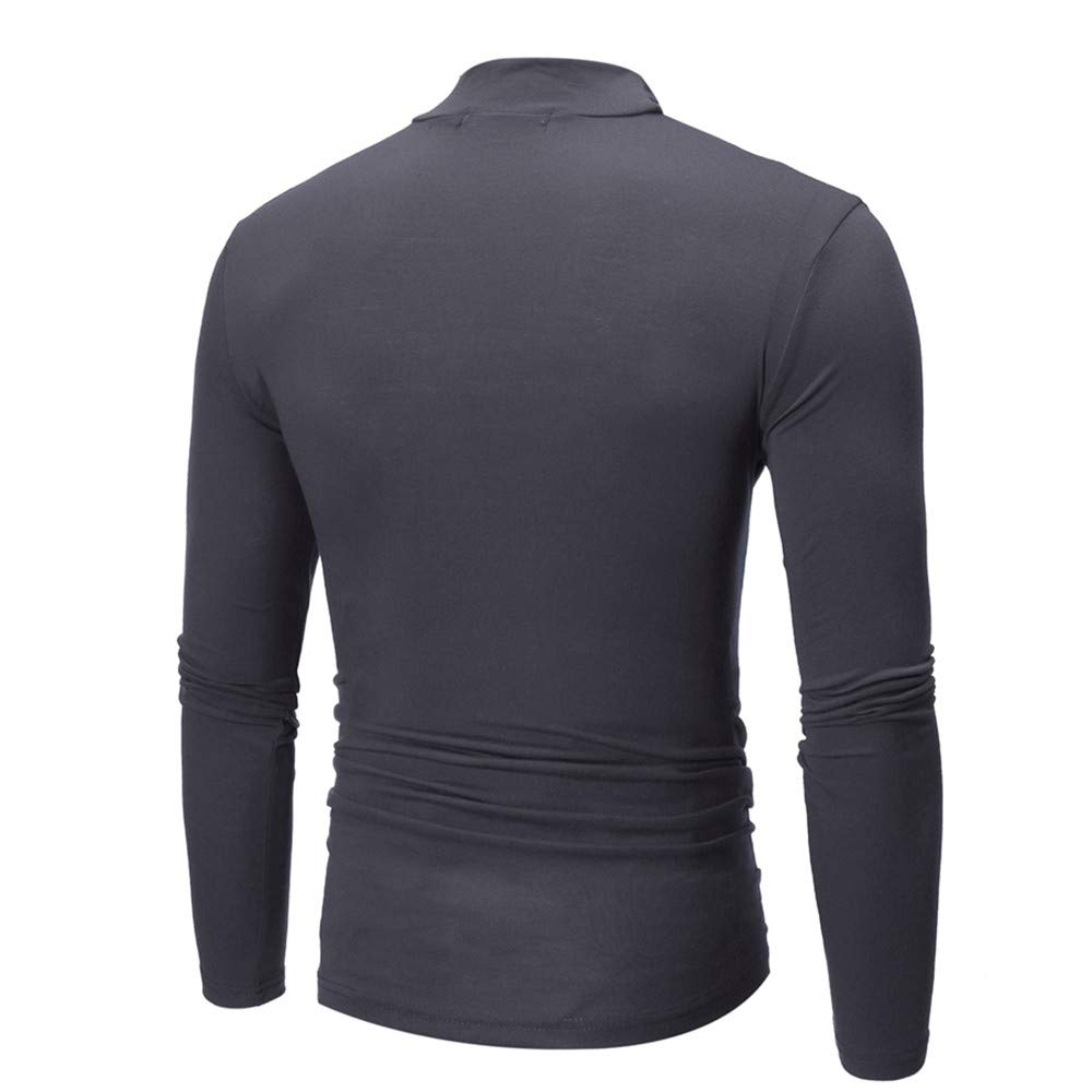 Colmkley Men Casual Slim Fit Sloid Color Turtleneck Long Sleeve Pullover T-Shirt