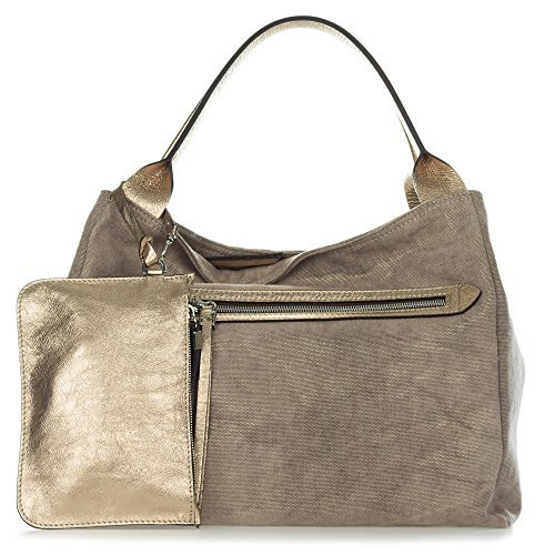 ian Made Metallic Champagne Canvas Large Zip Pocket Carryall Tote Handbag with Pouch ()