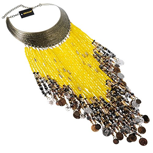 Vintage Jewelry Chain Yellow Resin Seed Beads Tassels Statement Pendant Bib Necklace