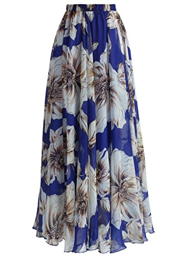 DRESSTELLS Women's Long Pleated Boho Floral Print Maxi Chiffon Vintage Beach Skirts Royal Blue Flower (Blue Floral Skirt)
