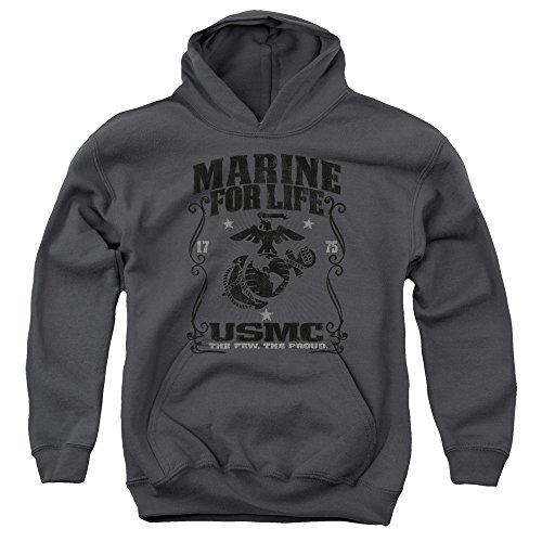 Trevco US Marine Corps For Life Unisex Youth Pull-Over Hoodie For Boys and Girls